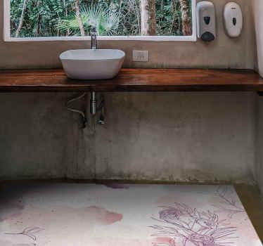 Alfombra de vinilo para baño se basa en un fondo blanco con delicadas y suaves flores por todas partes en colores rosa pastel y violeta. ¡Comprala ya!