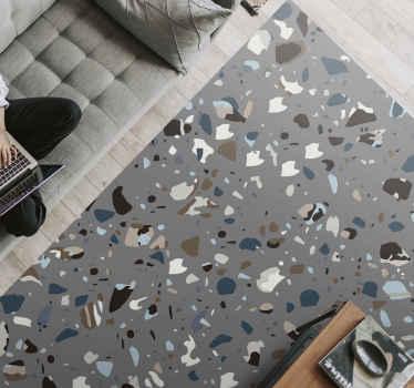Dit moderne vinyl vloerkleed is gebaseerd op een grijze achtergrond en zit vol geweldige vormen in verschillende kleuren. Bestel hem nu!