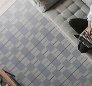 Dit vinyl vloerkleed voor de woonkamer is gebaseerd op een grijze achtergrond met overal geometrische vormen in verschillende grijstinten. Bestel nu!