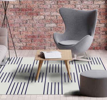 Preciosa alfombra vinilo nórdica en color blanco y azul marino que se puede colocar en cualquier lugar de una casa ¡Elige tus medidas!