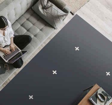 Dit moderne vinyl vloerkleed is gebaseerd op een zwarte achtergrond met witte plustekens erop, geïnspireerd op Scandinavische stijlen. Bestel hem nu!