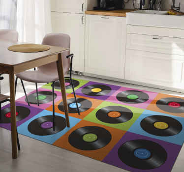 This cool retro vinyl rug is based on colourful squares with black vinyl plates on them. Perfect for music lovers. Choose the size!