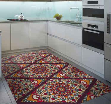 ¡Esta bonita alfombra vinilo cocina seguramente traerá mucha más luz a tu habitación! Diseño étnico caucásico de tonos cálidos ¡Envío exprés!