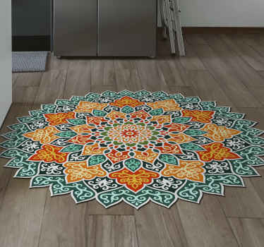 This texture vinyl rug is full of colours like blue, yellow and white to create a mandala pattern with unique, uneven edges. Home delivery available!