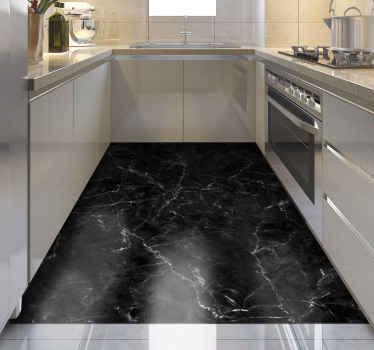 Alfombra vinilo textura mármol de color negro con apariencia realista para que decores tu casa. Elige medidas ¡Envío exprés!