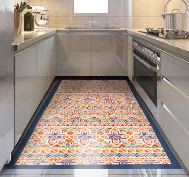 Combinando originalidad y etnia te ofrecemos esta impresionante alfombra vinilo cocina de patrón étnico con tonos cálidos ¡Envío exprés!