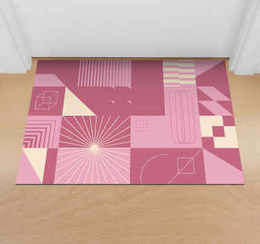 From the kitchen to the bedroom and the bathroom, this Nordic style pink squares vinyl rug can be found throughout the house! Quick delivery!