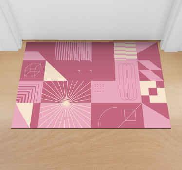 Desde la cocina hasta el dormitorio, ¡Esta alfombra vinílica cuadros rosas de estilo nórdico se puede colocar en toda la casa! ¡entrega rápida!