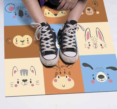 Alfombra vinílica dormitorio con diferentes dibujos en varios colores con la ilustración de varios animales como gatos, conejos, osos, perros, etc.