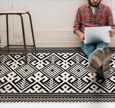 Deja que tus deseos hablen y compra esta hermosa alfombra vinílica étnica damalia en blanco y negro. Elige medidas ¡Envío exprés!