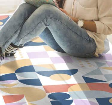Alfombra vinilo geométrica de los 70 para decorar cualquier habitación de una casa. Diseño con círculo estilo retro ¡Fácil de mantener!