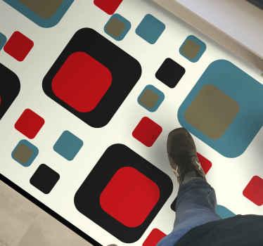 Alfombra vinilo geométrica de cuadrados azules y negros de los años 70. Ideal para dar un toque retro a tu casa ¡Elige tus medidas!