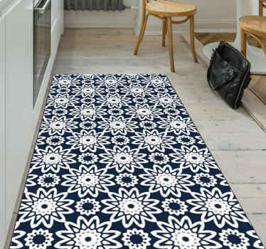 Blue tiles in patchwork  tile carpet that can be decorated on any space of house, be it on living room, bedroom and other space.