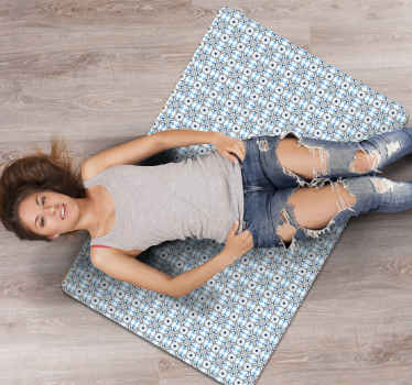 Grey and blue patchwork tile carpet - A beautiful classic carpet design to beautify any space in your home. Produced with quality vinyl and durable.