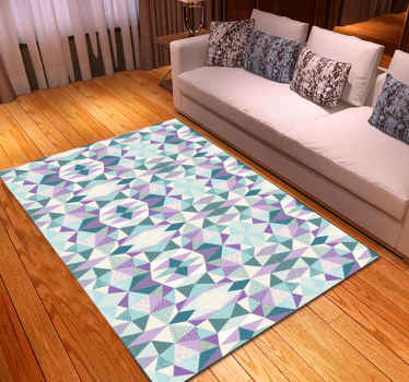 This geometric vinyl rug is full of triangle graphic shapes in white, blue and purple. Anti-allergy and anti-slip materials. Home delivery!