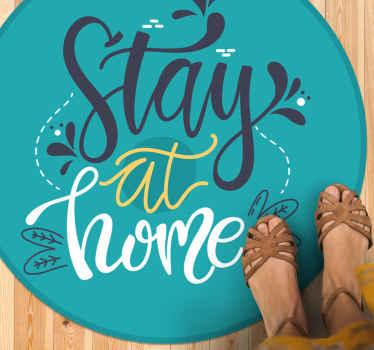 Quedate en Casa hermosa alfombra de vinilo azul personalizada :perfecta para decorar cualquier lugar. Estilo elegante. Pidela ya!