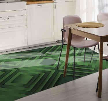 Ce tapis en sticker moderne est basé sur un fond vert avec des formes géométriques grises et noires partout. Livraison à domicile!