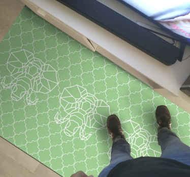 Ten dywan winylowy w kolorze nordyckiej zieleni ma powtarzający się biały nadruk słonia w geometrycznym efekcie. Wybierz rozmiar. Dostawa do domu!