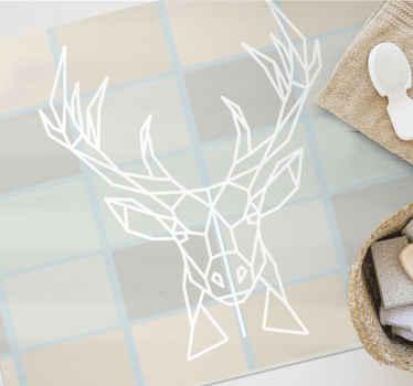 Ten nordycki dywan winylowy oparty jest na tle w kwadraciki w kolorze nude z białym nadrukiem jelenia. Styl skandynawski. Wybierz rozmiar!