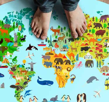 这款儿童乙烯基地毯基于圆形的蓝色形状,带有蓝色的世界地图上有很多不同的动物。选择大小。送货上门!
