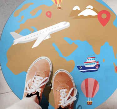 이 어린이 비닐 러그는 물과 같은 파란색 배경, 땅을 나타내는 갈색, 비행기와 같은 다양한 운송 수단을 가지고 있습니다. 지금 주문하세요!