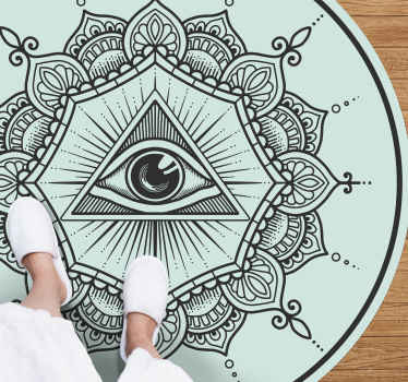 Blue eye shaped mandala vinyl rug - A design for lovers of mandala an ethical designs, it is suitable to decorate any space in a house.