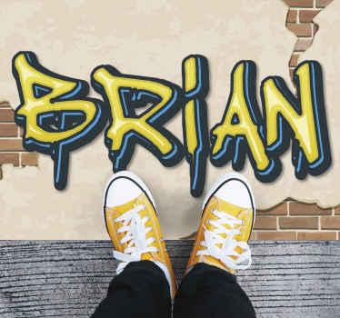 Tapis personnalisé à texture de graffitis et de brique - un incroyable tapis de nom personnalisable avec une véritable apparence de texture.