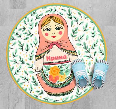 Великолепный персонализированный виниловый коврик с красивым дизайном русской куклы, который придаст особый характер комнатам вашего дома!