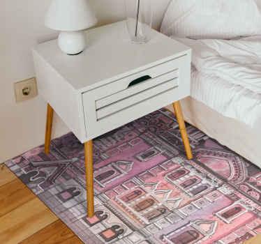 ¡Impresionante alfombra vinílica habitación que se verá increíble! Diseño con la ciudad de Moscú en tonos acuarelas ¡Envío express!
