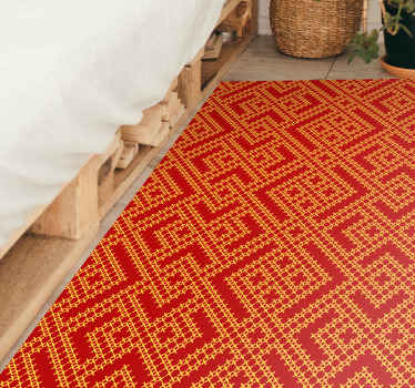 Fabulous red rug with a Slavic ornamental design imprinted on top. Made from very high quality materials. Worldwide delivery.