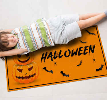 A spooky Halloween vinyl rug perfect for scaring your guests this spooky season! Extremely long-lasting material that is perfect for your home.