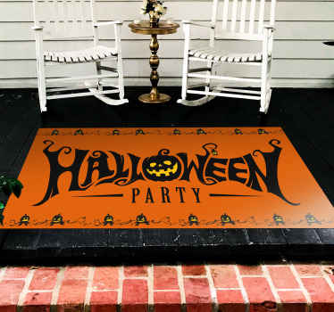 Invite your guest and friends home for Halloween festival party and have them enjoy party on this orange pumpkins Halloween party vinyl rug.
