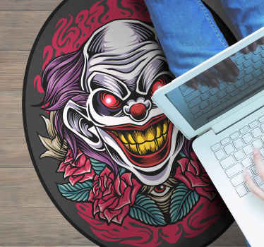 Round-tip Halloween clown art vinyl rug to decora a space in Halloween festival. It is easy to maintain and made at your size order.