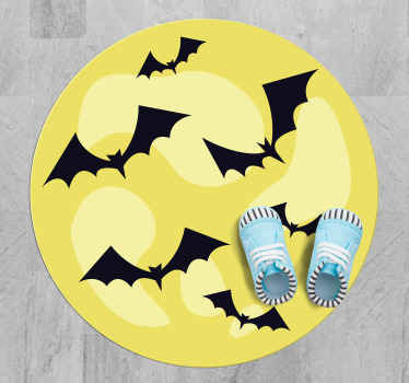 Amazing round Halloween terror vinyl carpet to decorate a space  in Halloween festival. It contains feature of flying black bats on yellow background.
