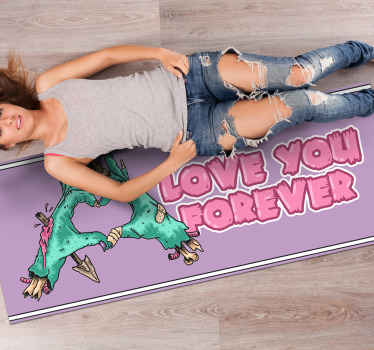 Colorful rectangular Halloween vinyl carpet  featured with illustrative design of two figures in love. Easy to maintain and of high quality.
