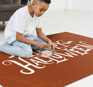Coffee colour rectangular vinyl carpet with the design text of ''happy Halloween'.  This design is decorative on a living room, hall ways etc.