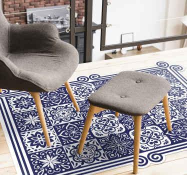 Alfombra vinilo hidráulica rectangular para cocina o salón con un hermoso diseño de azulejos color azul. Fácil mantenimiento ¡Envío a domicilio!
