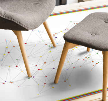A modern vinyl carpet with a network connection of dots designs.  It is colorful and simple to decorate any space in a simple way.