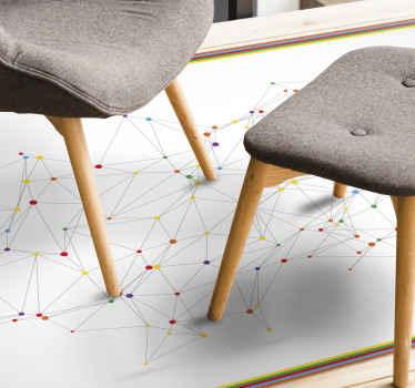 Moderní vinylový koberec se síťovým připojením v bodových vzorech. Je barevné a jednoduché jednoduše vyzdobit jakýkoli prostor.