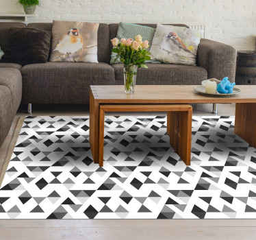 Pattern geometric triangle vintage vinyl carpet made in white and black color.  A decorative element to improve your space in a great and original way.