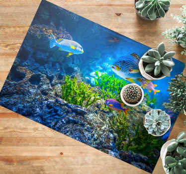 Natural undersea scenery vinyl carpet featured with the deign of under deep blue sea with colorful fishes and plants. Easy to maintain and of quality.
