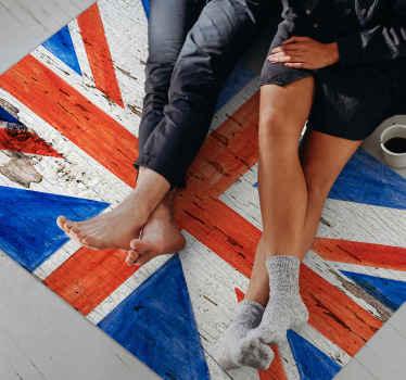 Alfombra vinilo dormitorio rectangular  con la bandera del Reino Unido de estilo urbano con textura de piedra. Fácil de limpiar ¡Envío a domicilio!