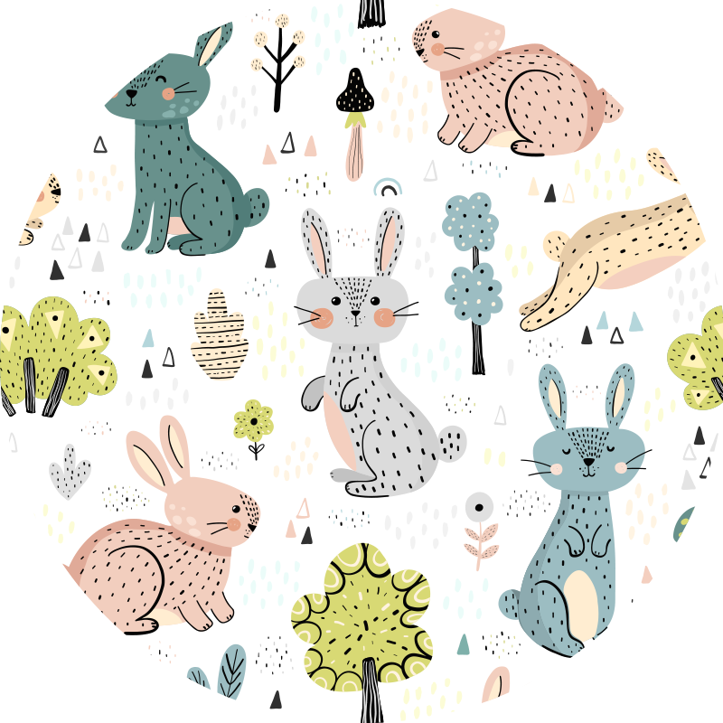 TenStickers. nice bunnies animal vinyl carpet. This gorgeous kids vinyl rug with nice bunnies is what you need for decorating your kid's bedroom in a really original and fantastic way!