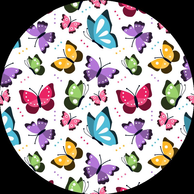 TenStickers. Tapis en autocollant animaux papillons ronds. Ce fabuleux tapis en vinyle à papillons ronds est exactement ce dont vous avez besoin pour transformer totalement l'aspect de chaque pièce de votre maison!