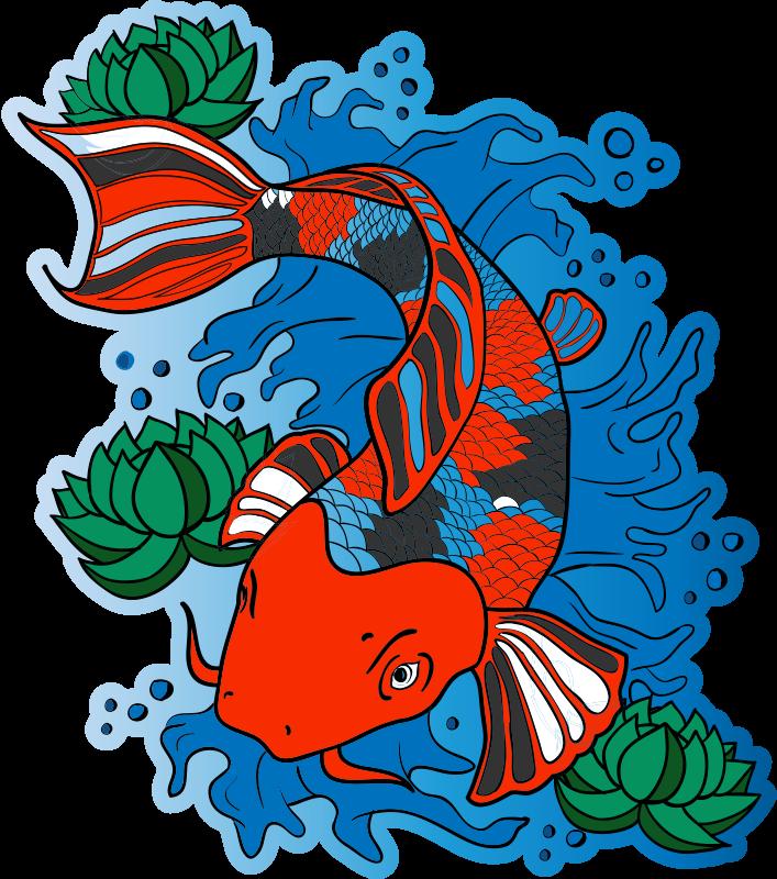 TenStickers. 锦鲤鱼设计动物乙烯基地毯. 乙烯基地毯和幼锦鲤鱼,让您的孩子享受原始和独特的装饰!立即购买!易于涂抹和清洁!