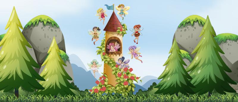 TenStickers. Tapis vinyl conte de fées bébés. Jetez un oeil à ce magnifique tapis en vinyle de conte de fées pour bébés et décidez de donner à vos enfants quelque chose de vraiment spécial!