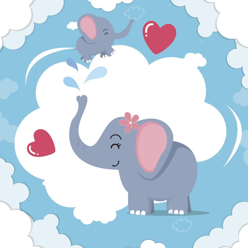 TenStickers. 心和大象婴儿乙烯基地毯. 带上这个令人惊叹的心脏和大象婴儿乙烯基地毯,并发现一种新颖的神奇方式来装饰您的所有房屋,将其带入您的家中!
