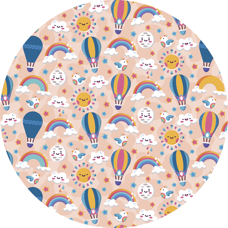 TenStickers. clouds and rainbow babies vinyl rug. This enchanting clouds and rainbows babies vinyl rug is the ultimate solution for improving significantly the aestethics of your kid's bedroom!