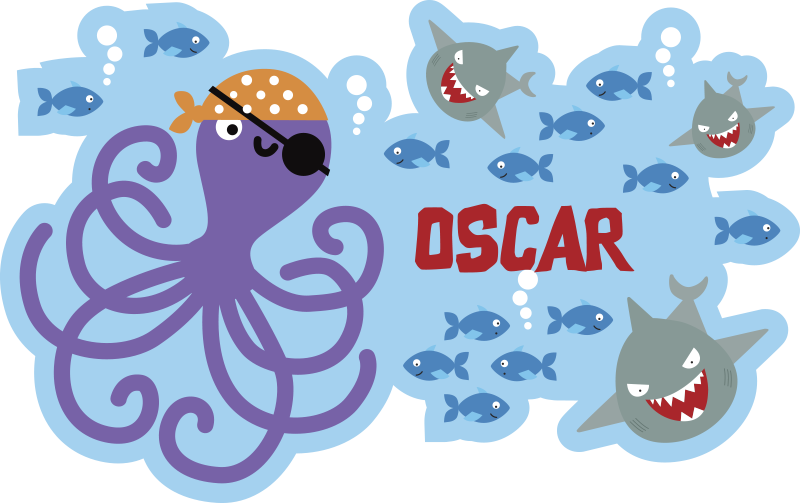 TenStickers. pirate octopus animal vinyl carpet. Try this fabulous customizable pirate octopus vinyl rug  and bring in your kid's bedroom something really special and original!