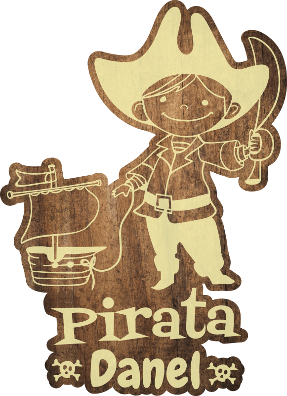 TenStickers. Personnalised wooden pirate kids vinyl carpet. Vinyl carpet with a children's name to decorate your child's room and let them enjoy this fantastic design! +10,000 satisfied customers.